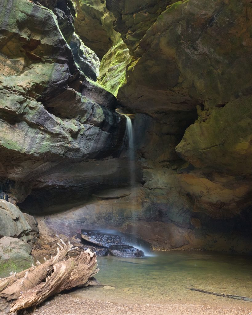 Waterfall in Gorge at Conkle's Hollow Nature Preserve in Hocking Hills Area of Ohio