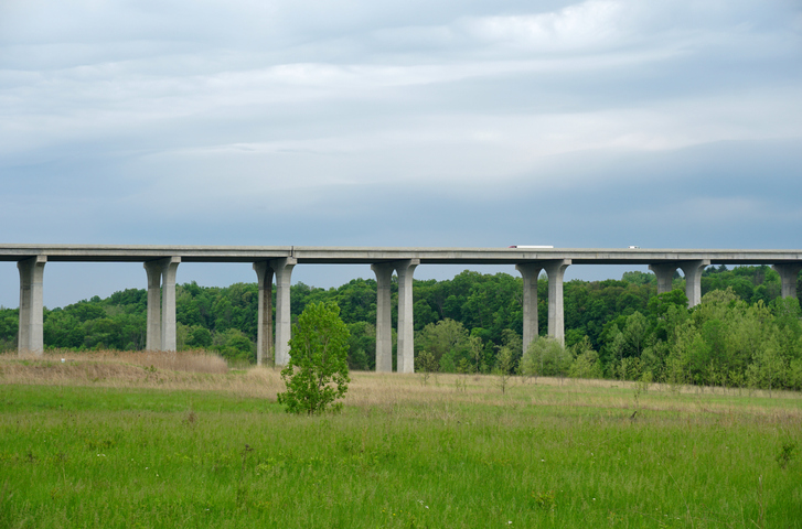 Highway bridge span over the valley