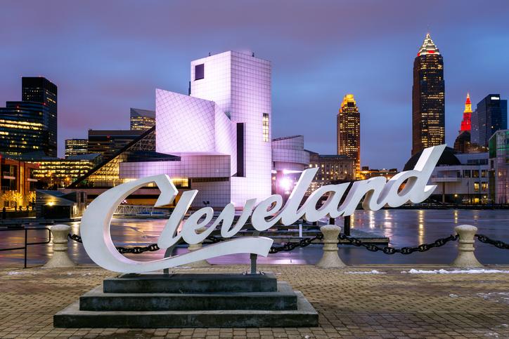 Cleveland Script Sign, Lake Erie, Cleveland, Ohio, America