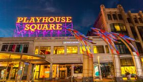 USA, Ohio, Cleveland, Playhouse Square Theater District at night