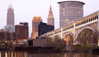 Detroit Superior Bridge over Cuyahoga River, Cleveland, Ohio, USA