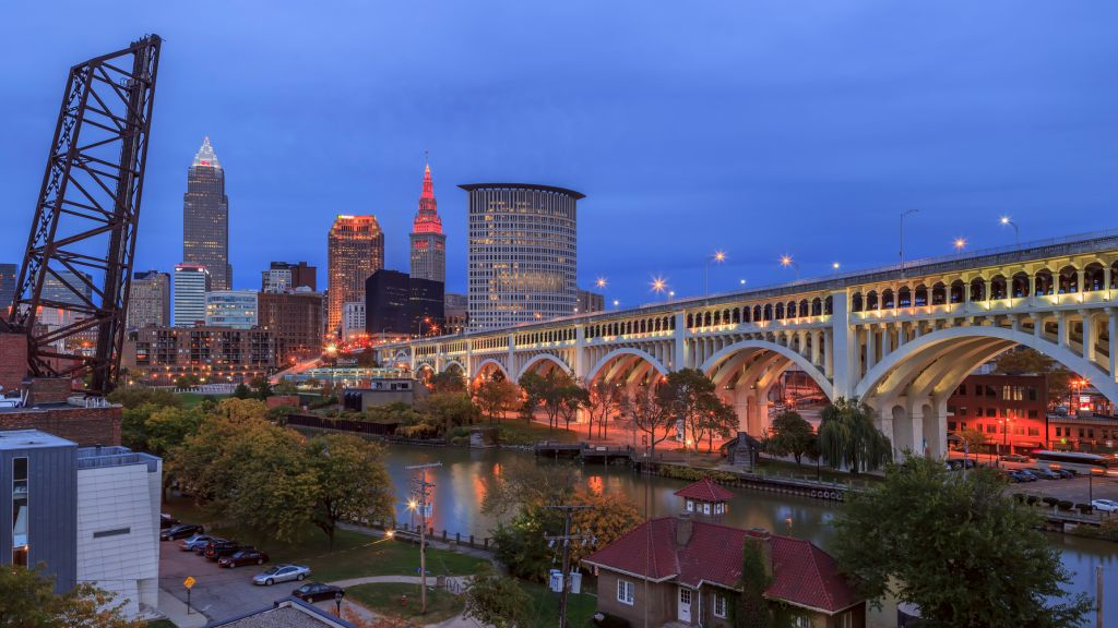 Cleveland Skyline View with Veterans Memorial Bridge in the evening lights.