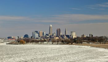 Cleveland skyline on the frozen Lake Erie shore