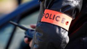 France, Paris. Policeman's tag France.