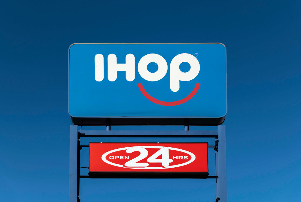 iHop, International House of Pancakes logo and sign...