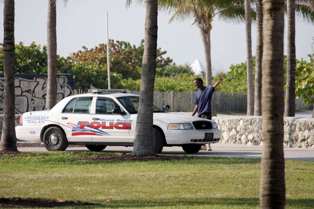 A police car in Lummus Park.