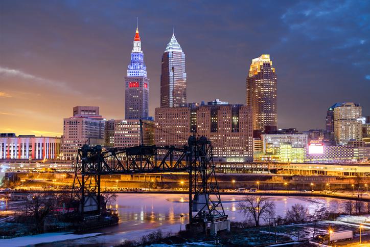 Sunset, Cleveland, Ohio, America