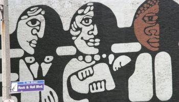An African art mural on Rock and Roll Boulevard.