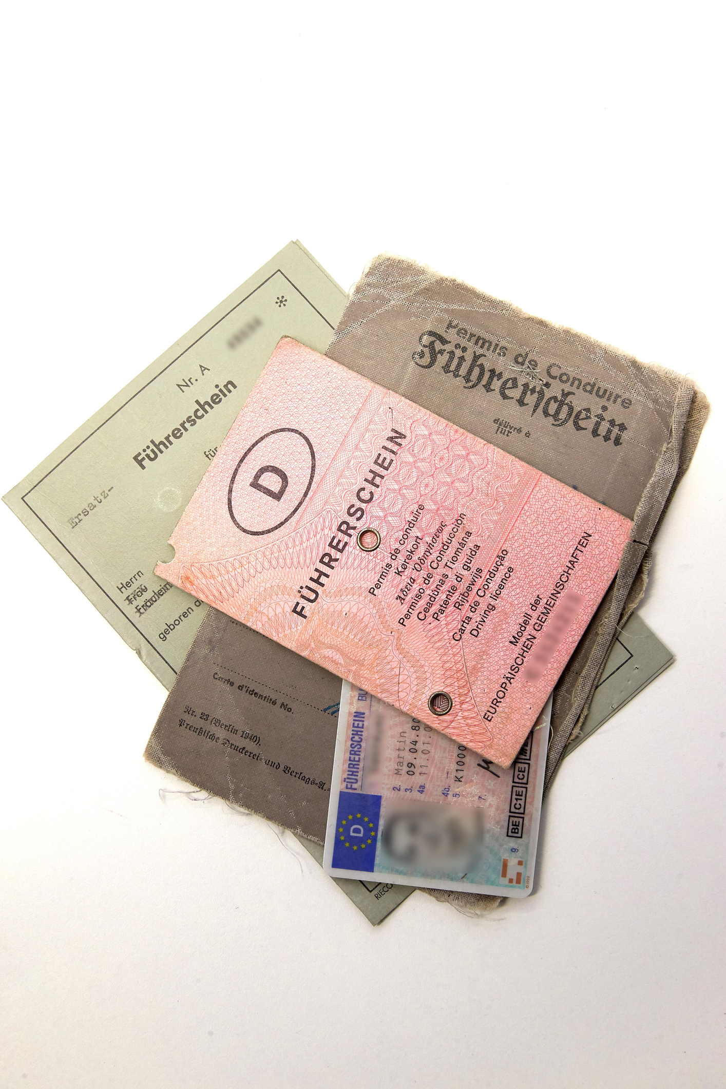 Old and new driver's license, various still valid German driver's licenses, Germany