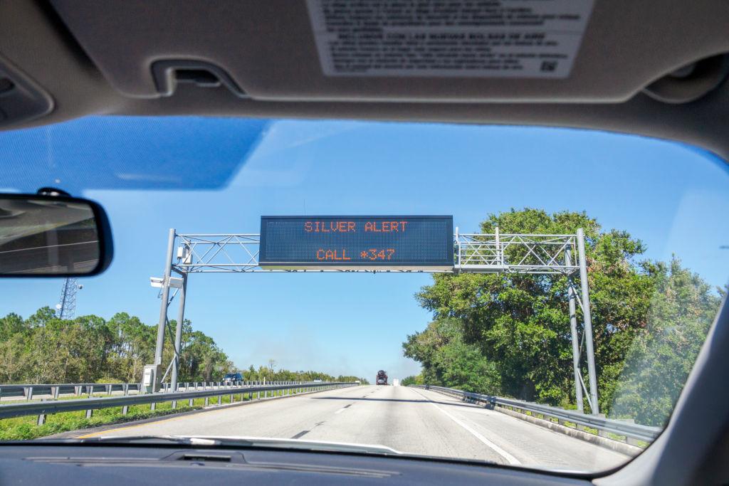 Florida, Ft Pierce, Silver Alert sign, Missing senior