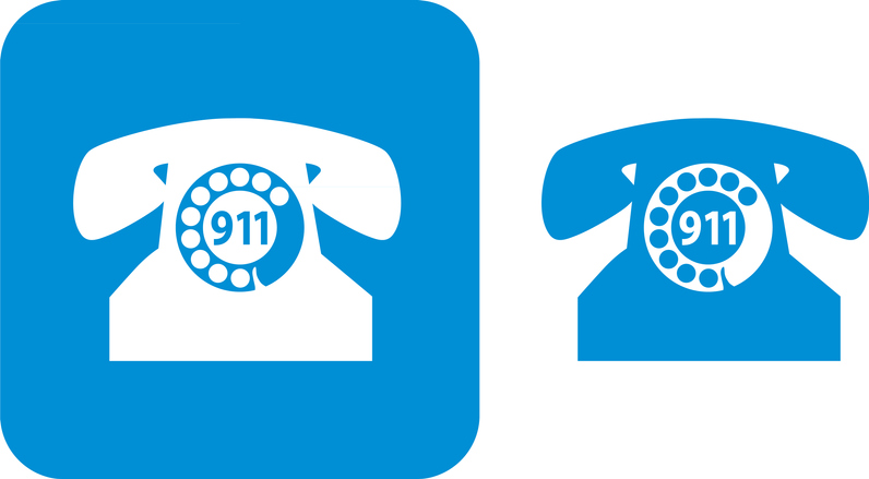 Blue 911 Telephone Icons