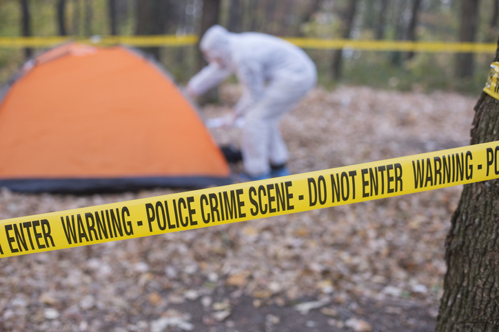 Forensics at the murder scene.