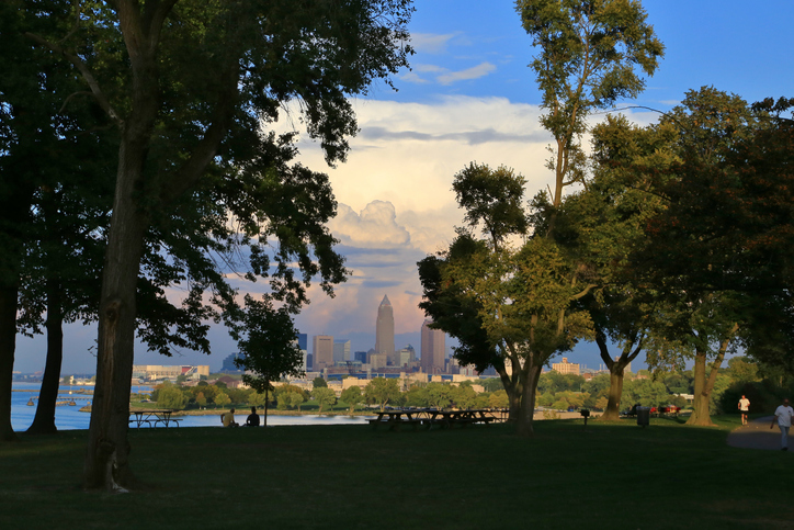 Cleveland skyline seen at Edgewater Park