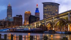 Cuyahoga River, Detroit-Superior Bridge, Skyline, Cleveland, Ohio, America