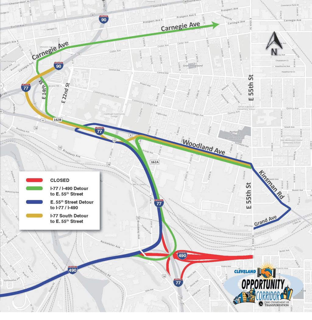 Section 3 of the Opportunity Corridor Project detour map