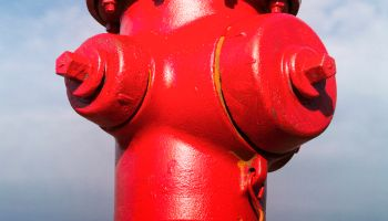 Close up of red fire hydrant