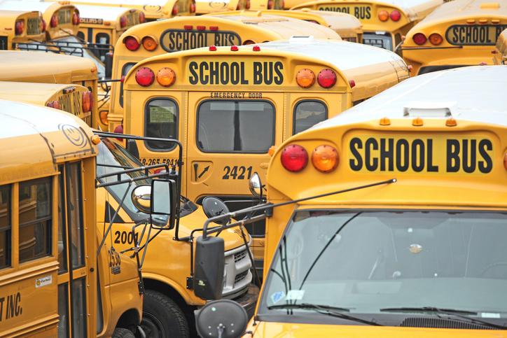 Full Frame Shot Of School Buses In City