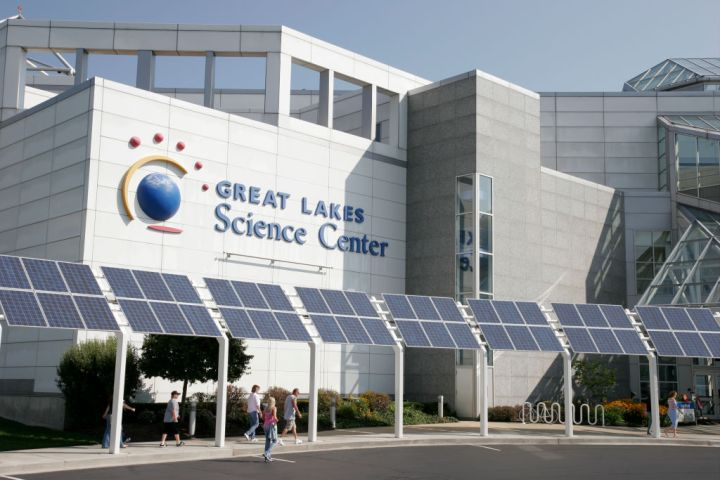 Solar panels outside the Great Lakes Science Center.