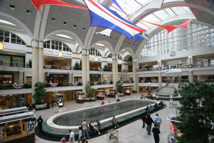 The interior of the Tower City Center.
