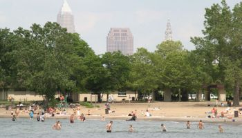 People swimming at Edgewater Park.