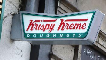 Krispy Kreme store and brand logo seen in London, UK...