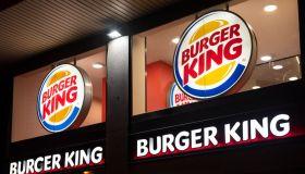 American fast-food hamburger Burger King logo seen in...