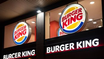 American fast-food hamburger Burger King logo seen in...