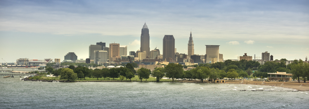 Downtown Cleveland city panorama skyline in Ohio USA