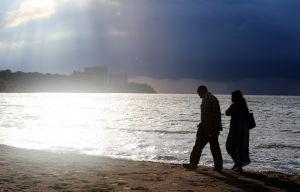 Romantic couple on the shore