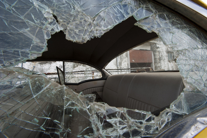 Smashed car window, town of Djupavik, Reykjarfjoerdur fjord, Strandir, Westfjords, Iceland