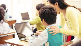 Teacher and Children in Computer Class