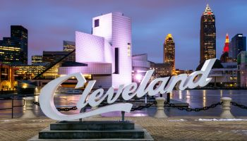 Cleveland Script Sign, Lake Erie, Cleveland, Ohio, America