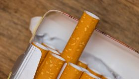cigarettes in a pack, close-up