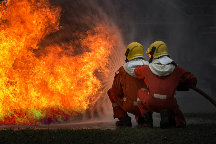Firefighters who have been trained professionally are on duty to control the fire from various accidents and rescue the victims.