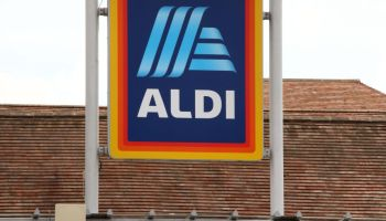 An Aldi store sign seen at the supermarket, One of the Top...