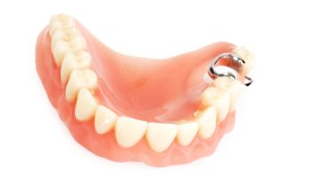 Close-Up Of Dentures Over White Background