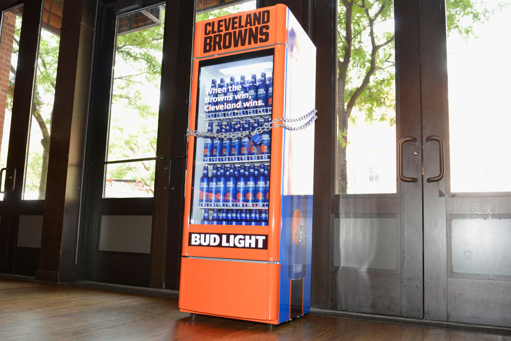 "Bud Light And The Cleveland Browns Unveil the ""Bud Light Cleveland Browns Victory Fridge"" In Cleveland With The Help Of Browns Legends Felix Wright And Frank Stams"