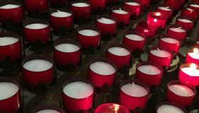 Burning votive candles