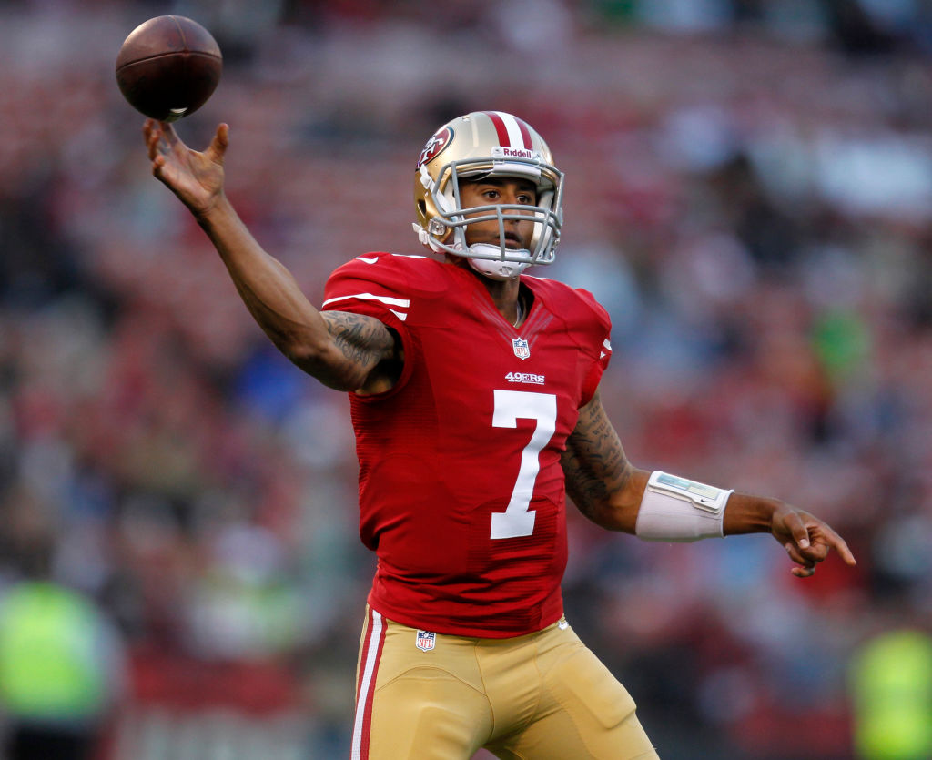 San Francisco 49ers quarterback Colin Kaepernick (7) throws against the San Diego Chargers in the first quarter for their preseason game at Candlestick Park in San Francisco, Calif. on Thursday, Aug. 30, 2012. (Nhat V. Meyer/Staff)