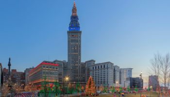 Evening view of the Public Square with Christmas illumination and the Terminal Tower in Cleveland, Ohio USA