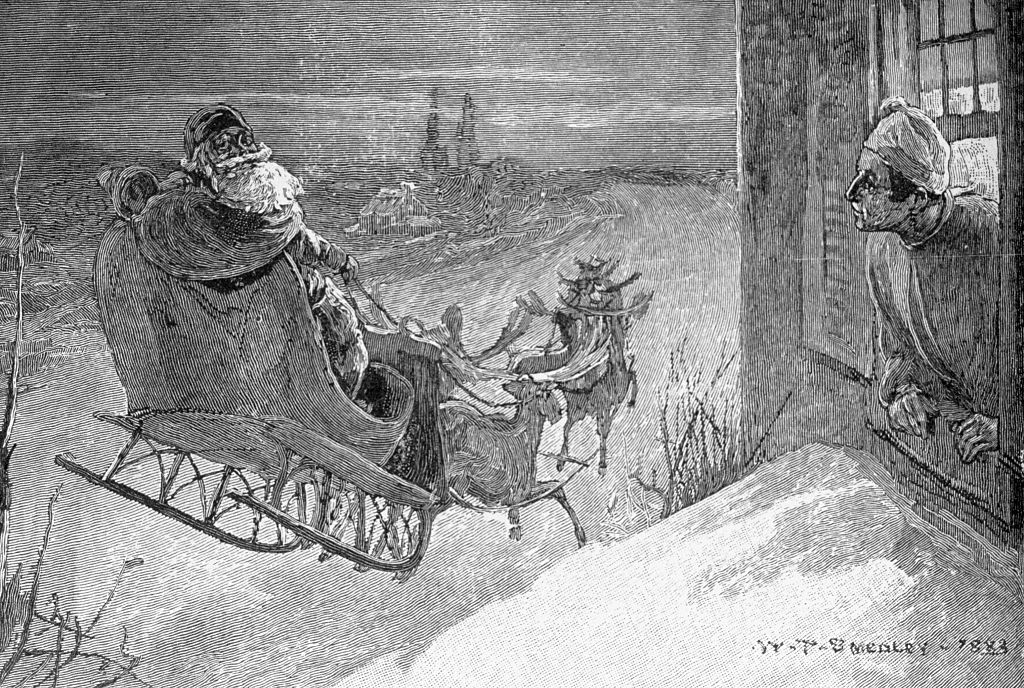 19th Century Print of Santa Claus Driving Sleigh