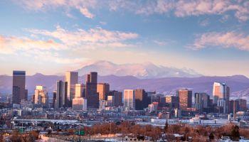 Pikes Peak in Denver cityscape