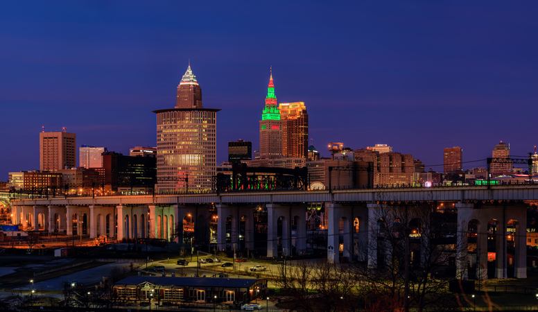 Cleveland Skyline view from the South West on the Christmas Night - Cleveland, OH, USA. December 2019