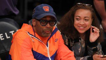 Celebrities watch New York Knicks v Los Angeles Lakers