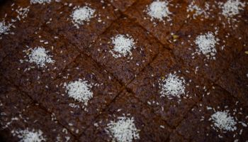 Chocolate brownies pieces seen displayed for sale during the...