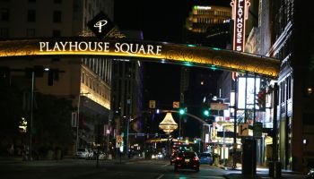 Night view of the outdoor chandelier at the Playhouse Square performing arts district, Cleveland, Ohio, USA