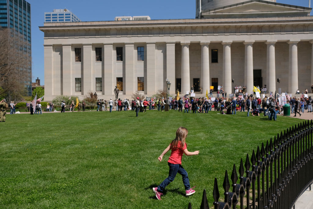 Ohioans Protest The Government's Economic Shutdown At Statehouse