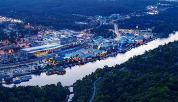 Night Aerial View of Downtown Branson, Missouri and Lake Tanycomo