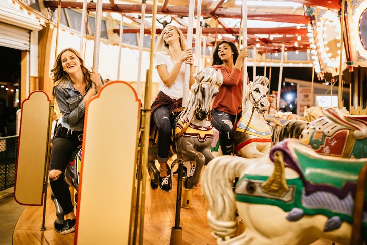 Teenage Women Friend Group Enjoying State Fair