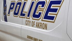 Close-up of an Akron city police vehicle